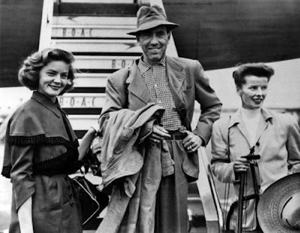 Lauren Bacall Humphrey Bogart and Katharine Hepburn The African Queen