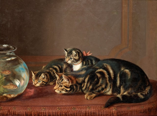 cats by a fishbowl by horatio henry couldery 19th century