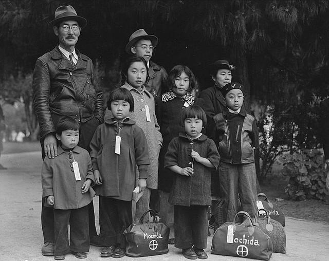 Photograph of Members of the Mochida Family Awaiting Evacuation NARA 537505