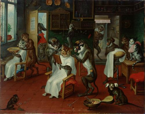 barbershop with monkeys and cats by abraham teniers 1633 1667
