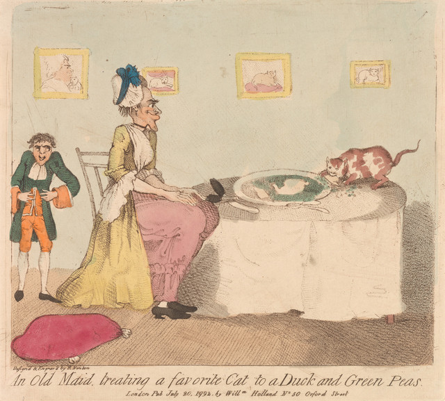 richard newton 1777e280931798 british an old maid treating a favorite cat to a duck and green peas 1792 etching hand colored yale center for british art