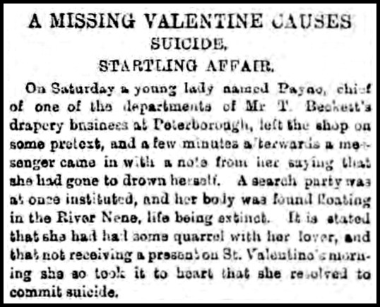 valentine suicide daily gazette for middlesborough february 16 1891