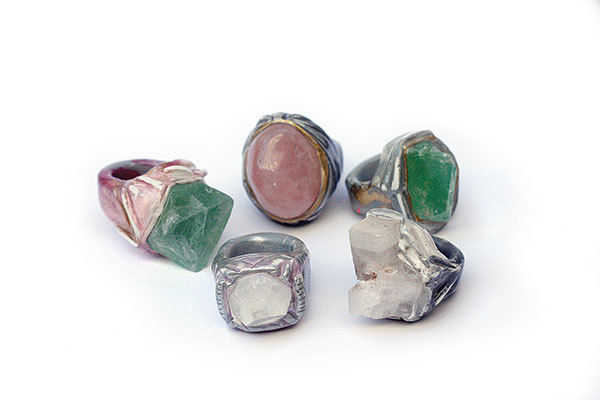 2d1df0264119a7 Impossible to ignore, these one-of-a-kind, bomb-ass crystal statement rings  are wearable art at its best. ADINA MILLS RINGS, APPROX. $140 EACH,  ADINAMILLS.