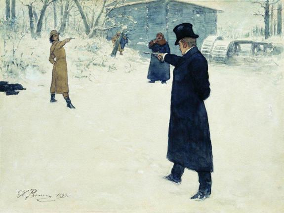 duel between onegin and lenski by ilya repin 1899