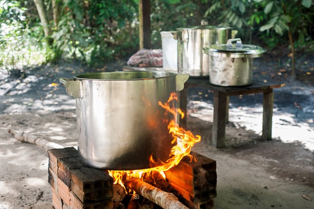 Ayahuasca being prepared Photo by Tracey Eller HIGH RES