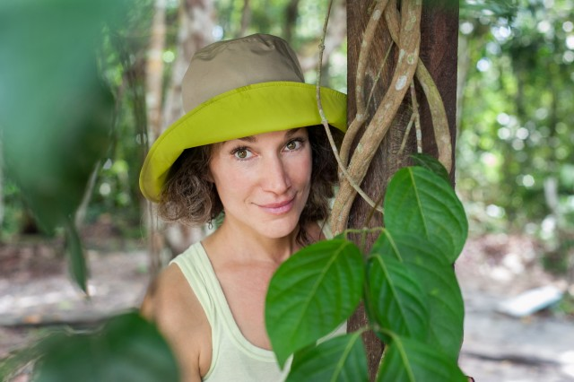 Zoe Helene on location in the Amazon with Ayahuasca vine Photo by Tracey Eller HIGH RES