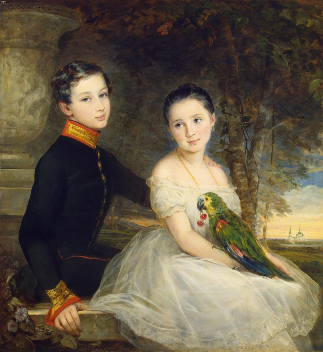 children with parrot by christina robertson 1850