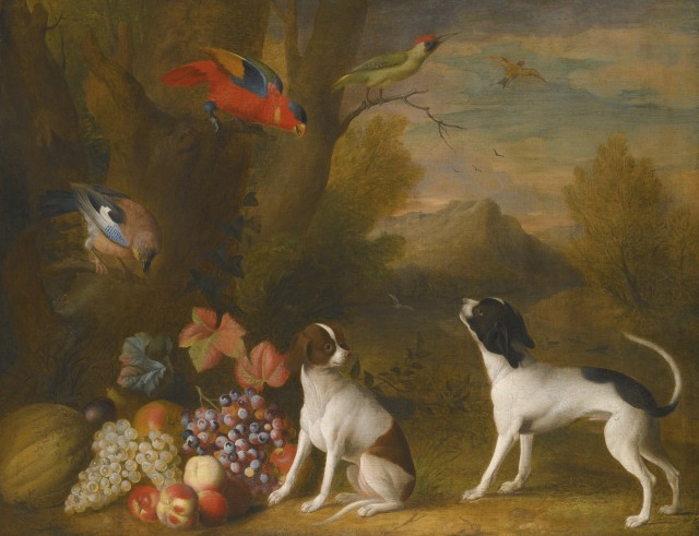 landscape with exotic birds and two dogs by jakob bogdc3a1ny 1724