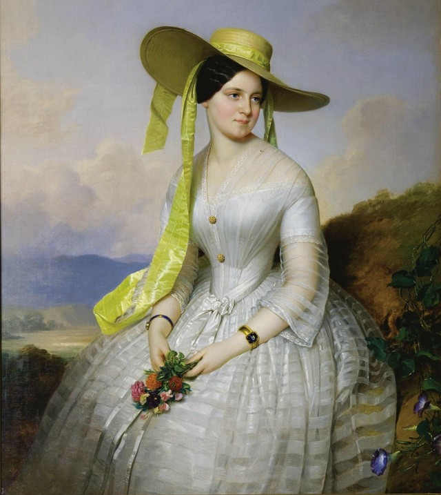 portrait of a lady with hat by anton einsle 1801 18711