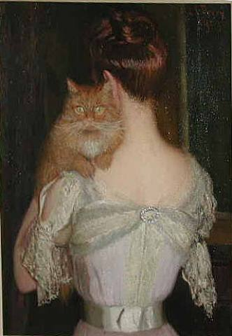 woman with cat by lilla cabot perry 1848 1933