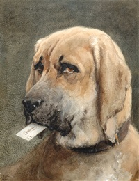 mastiff holding a calling card by otto eerelman 19th century