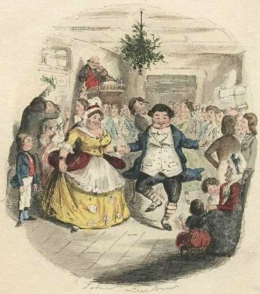mr fezziwig s ball hand colored etching by john leech from a christmas carol by dickens 1842