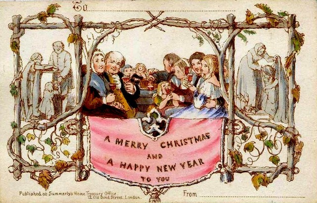 the worlds first commercially produced christmas card made by henry cole 1843