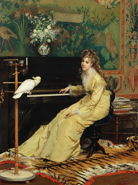woman at the piano with cockatoo by gustave lc3a9onard de jonghe 1870