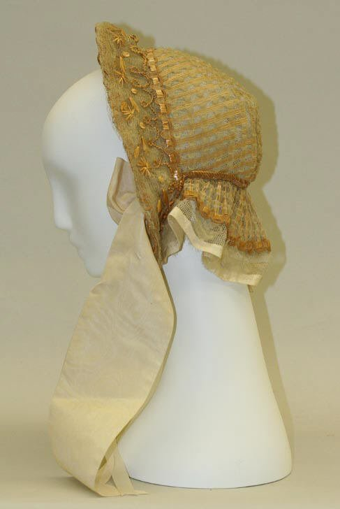 1850 yellow silk bonnet