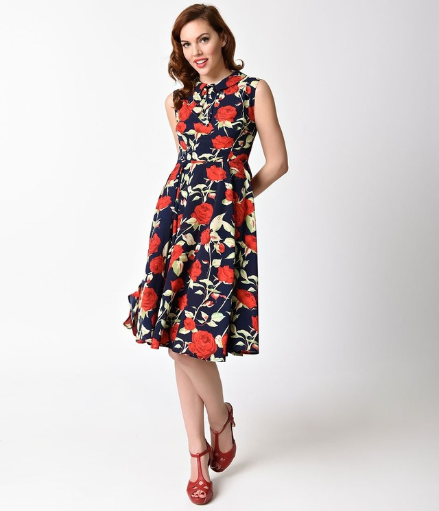Unique Vintage Navy Blue Red Rose Sleeveless Olson Swing Dress 6