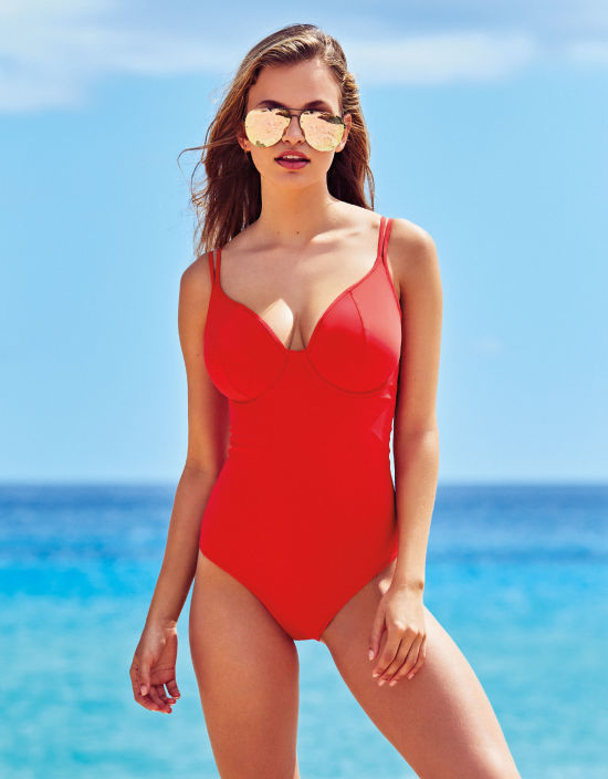 f3a41e2a71b Keep it sweet and simple with this bra-style swimsuit (which goes from DD-K  cup