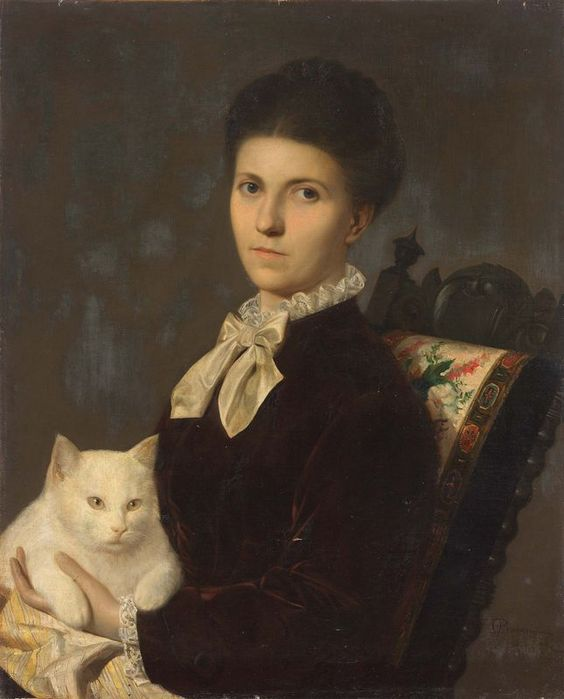 portrait of a lady with a white cat by anonymous 19th century