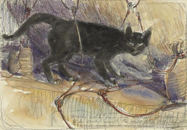 a depiction of mowler a black cat a pet and mascot of hms manica standing on a flat surface amongst the rope attachments of the ships balloon part of which is visible behind imperia 530c1