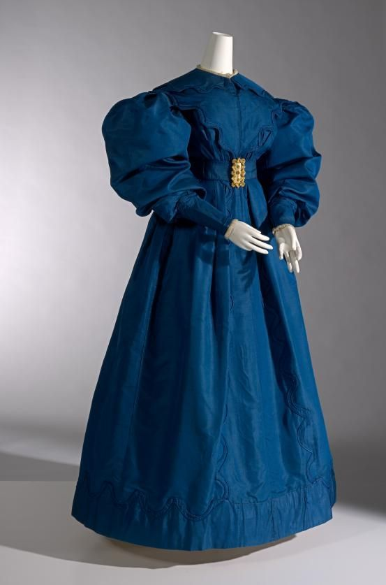 1830 blue silk carriage dress british via national gallery of victoria melbourne c0e18