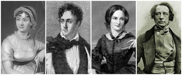 austen byron bronte and dickens black and white 3 74442