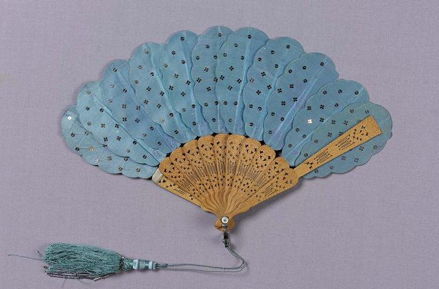 mid 19th century blue satin fan via mfa boston 84081